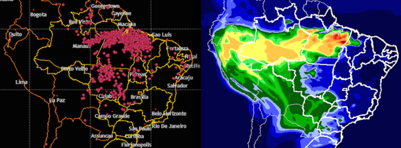 Satellite data shows the latest fires (left side, red dots) and the distribution of carbon monoxide from smoke (right side). Photo: Brazilian Institute of Space Research (INPE).