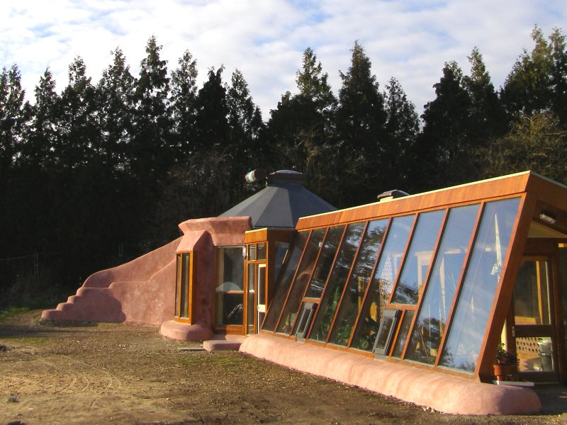 Solar gain on the east side of the Brighton Earthship. Photo: Mischa Hewitt.