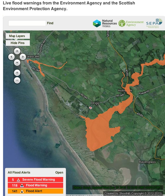 EA map of 30th December 2015 showing flood risk to Drigg site from River Irt. Image: EA.