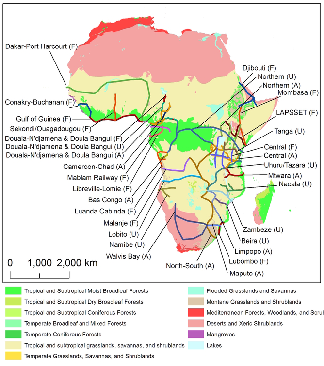 The 33 development corridors that are being proposed or constructed in sub-Saharan Afirca. Map: William F. Laurance et al. (2015) Current Biology.