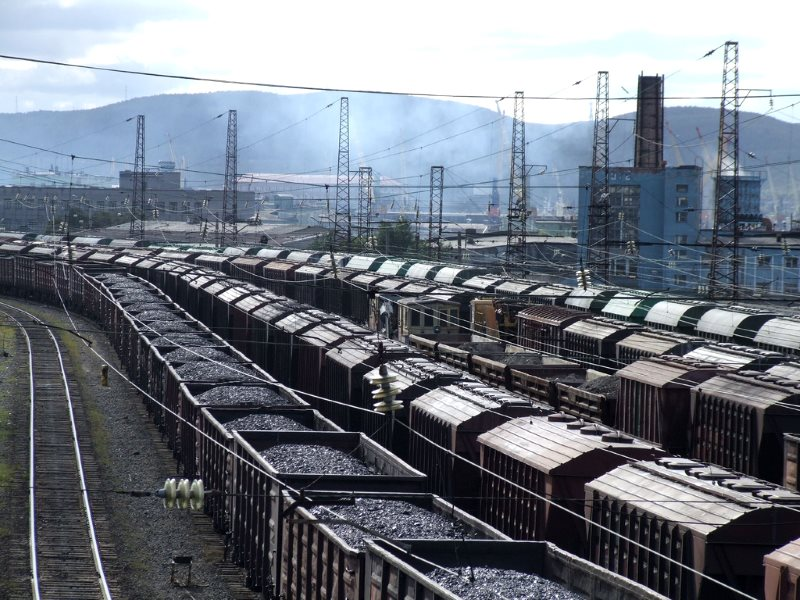 Coal trucks in Murmansk railway sidings, Russia - one of the UK's biggest coal suppliers. Photo: Roger Greenhalgh via Flickr (CC BY-NC-SA).