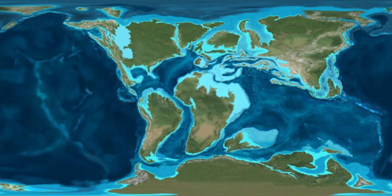 Map of the ancient oceans of the Cretaceous: compare the vast size of the Pacific to the diminuitive Atlantic. Image: Ron Blakey, NAU.