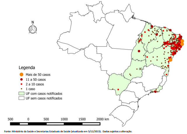 Map showing the concentration of suspected Zika-related cases of microcephaly in Brazil. Image: Claire Bernish / AntiMedia.