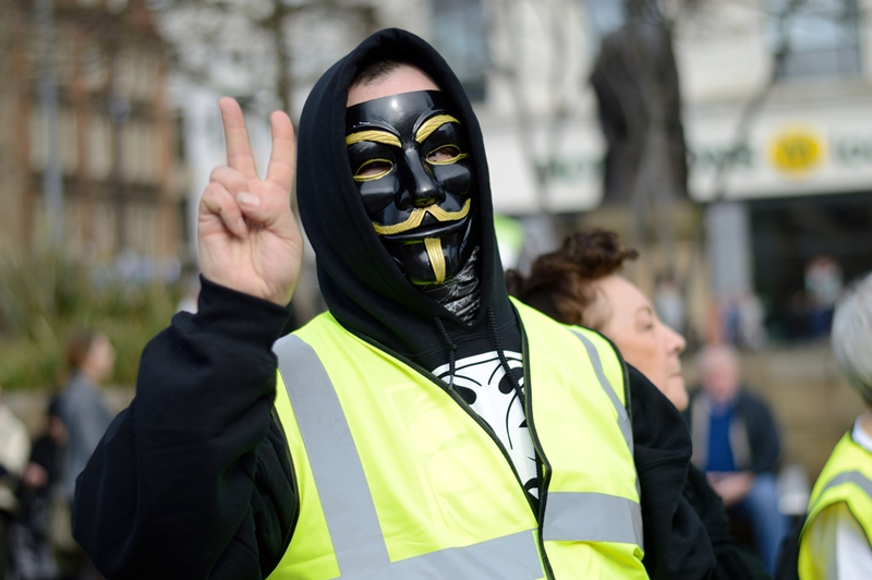 Protestor at an anti-fracking demonstration in Manchester. Whilst protests continue in England, fracking has been banned by Ministers in Wales. Photo: Tim Brockley via Flickr (CC BY-NC-ND 2.0)
