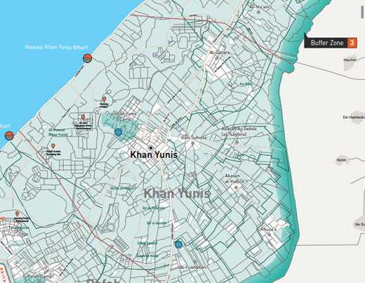 Buffer zone determined by by the military near the perimiter fence. Image: map of Gaza Strip by the NGO Gisha.