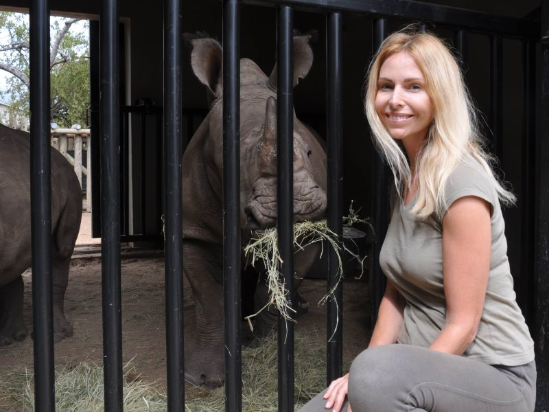 Anneka Svenska with orphaned rhino at Rhino Revolution orphanage. Photo: Anneka Svenska.