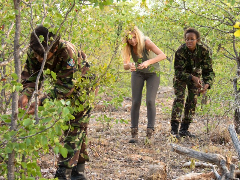 Anneka clearing deadly snares with The Black Mambas. Photo: Helping Rhinos.