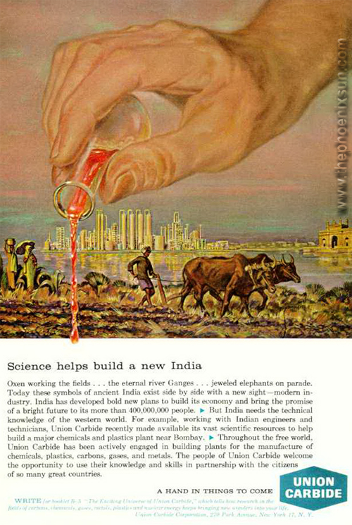Union Carbide's 'Hand of God' advertisement to Indian farmers. Image via Osha.