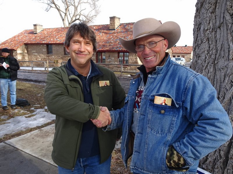 Author Peter Walker meets with Robert 'LaVoy' Finicum at the occupied Malheur National Wildlife refuge on January 20. Photo: Occupier Jason Patrick, Author provided.