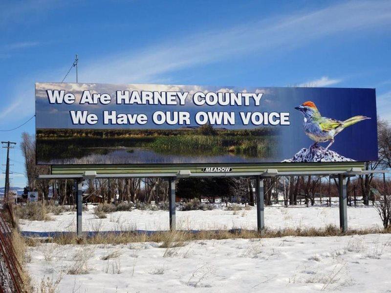 A billboard in Harney County during the Malheur Occupation reflected most locals' unhappiness with the occupiers from outside the county. Photo: Peter Walker.