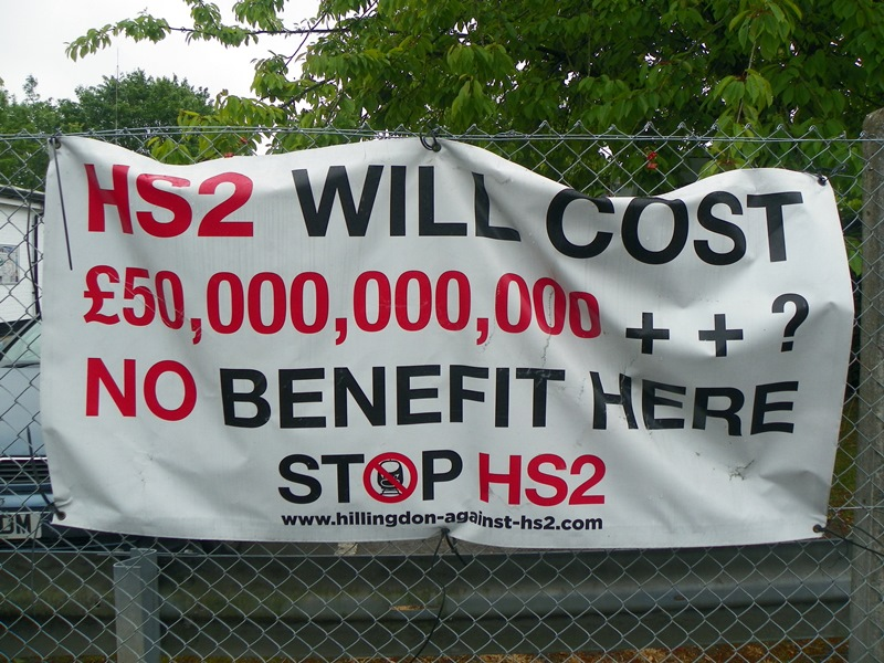 HS2 protest banner, Harefield, Hillingdon, Greater London. High Speed UK offers so much more than this expensive network. Photo: Peter O'Connor aka anemoneprojectors via Flickr (CC BY-SA 2.0)