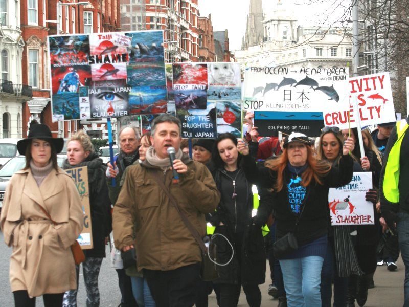 Dominic Dyer of the Born Free Foundation heads a march through Kensington, London on 18th March 2016 to protest the killing and captures of dolphins in Japan. Photo: Lauren Crabtree / Dolphin Project.