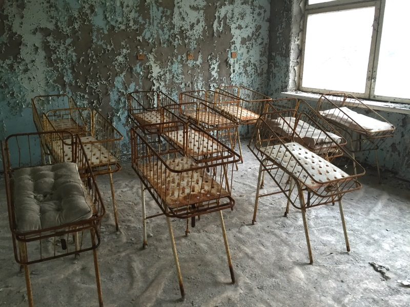 The maternity ward at the hospital in Pripyat, Ukraine. The city of Pripyat was abandoned after the Chernobyl disaster 30 years ago. Photo: Engyles via Flickr (CC BY)