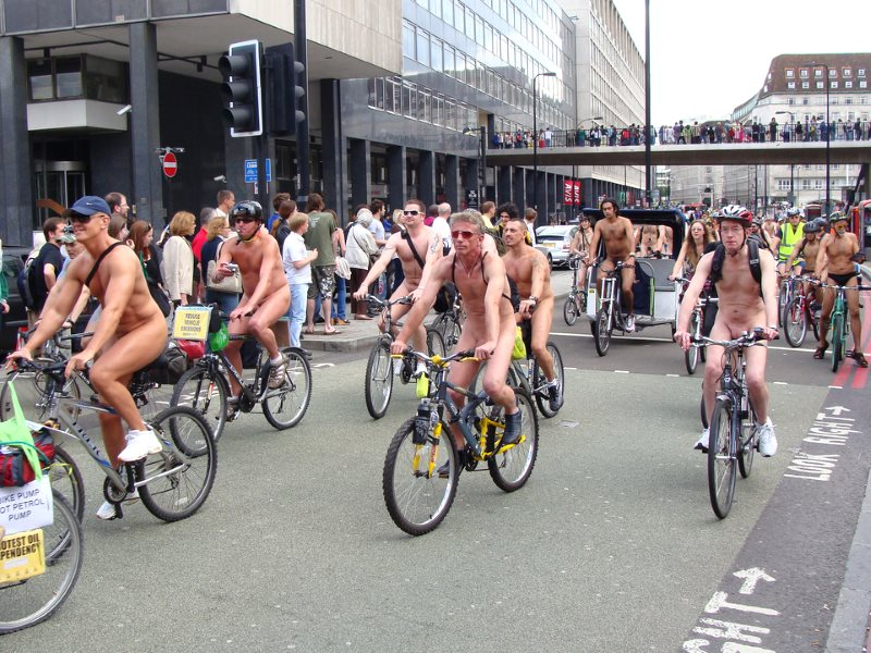 Cyclists stage a naked demo on the streets of London, 14th June 2008. Cyclists will be protesting again on 27th April 2016 - but this time, with their clothes on. Photo: Dan Cunningham via Flickr (CC BY-NC-SA).