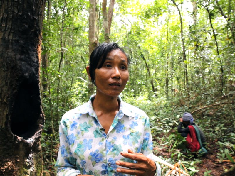 Mao Chanthoern, a core member of the Prey Lang Network core group, in the Prey Lang forest. Photo: Vanessa de Smet Last Line Productions / N1M.