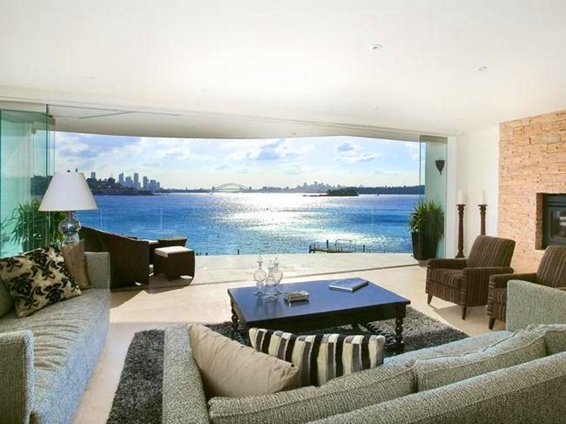 The view over Sydney Bay from the new AU$27m home of Graham Edwards and his wife Georgina Black, 'Indah'. Photo: via news.com.au.
