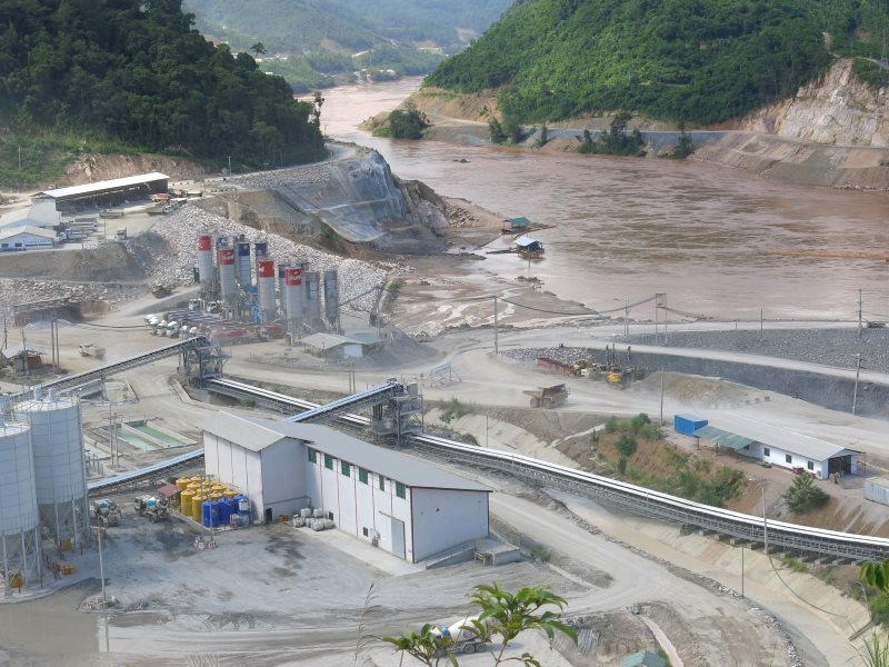 Xayaburi dam-site under construction in ​Northern Laos, 2013​.​ it now 70% comple​te. Photo: Tom Fawthrop.
