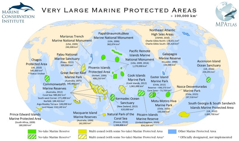 The world's largest MPAs as of March 2016. The Hawaii reserve is now four times larger. Map: MPAtlas.org (CC BY-NC-SA).