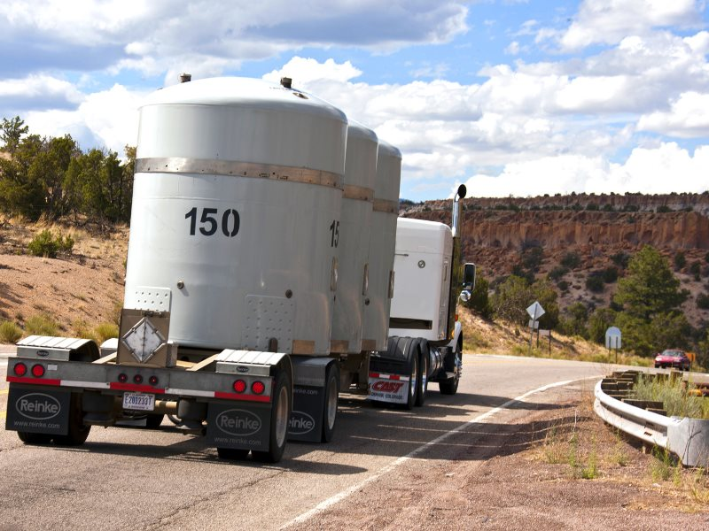The Los Alamos National Laboratory's 1000th shipment of transuranic waste leaves the Laboratory on its way to the Waste Isolation Pilot Plant near Carlsbad, N.M. Photo: Los Alamos National Laboratory via Flickr (CC BY-NC-ND).