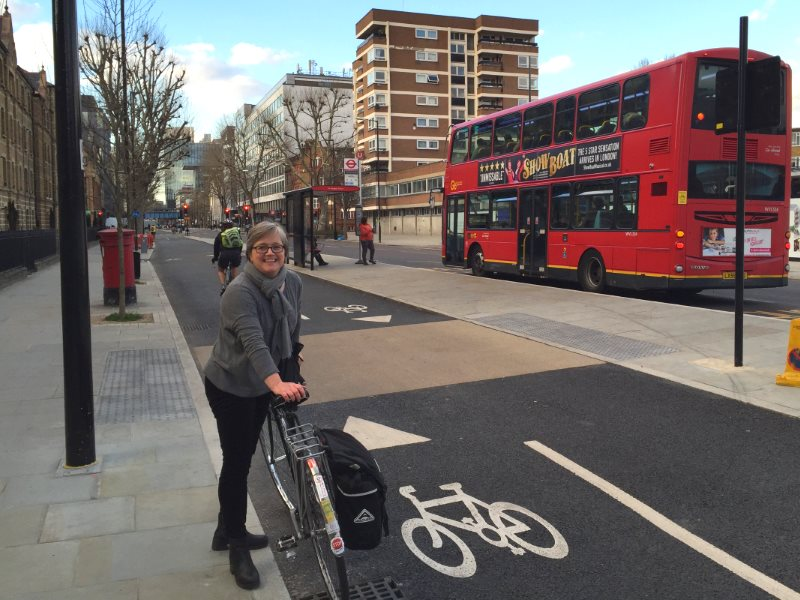 Green Assembly Member for London Caroline Russell on Blackfriars Bridge with bicycle. Photo: Green Party.
