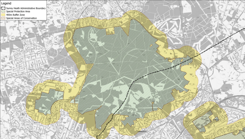 Partial map of the Thames Basin Heaths showing the 'buffer zone' around protected land. Image: Surrey Heath Council.