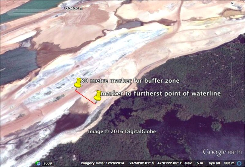 Figure 3: 2014 image, further infringement and extension of artificial landmass into the original lake/buffer zone. Satellite image of Rio Tinto's QMM mine in Madagascar via Andrew Lees Trust.