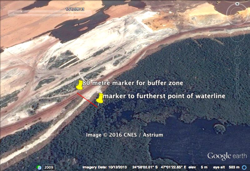 Figure 2: 2013 image, same area as Figure 1, shows infringement into 80m buffer zone (same GPS coordinates). Satellite image of Rio Tinto's QMM mine in Madagascar via Andrew Lees Trust.