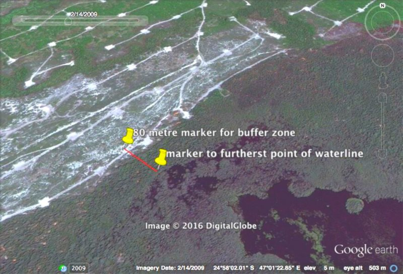 Figure 1: 2009 Original land mass and waterline with marker showing conservative estimate of 80 metre buffer zone. Satellite image of Rio Tinto's QMM mine in Madagascar via Andrew Lees Trust.