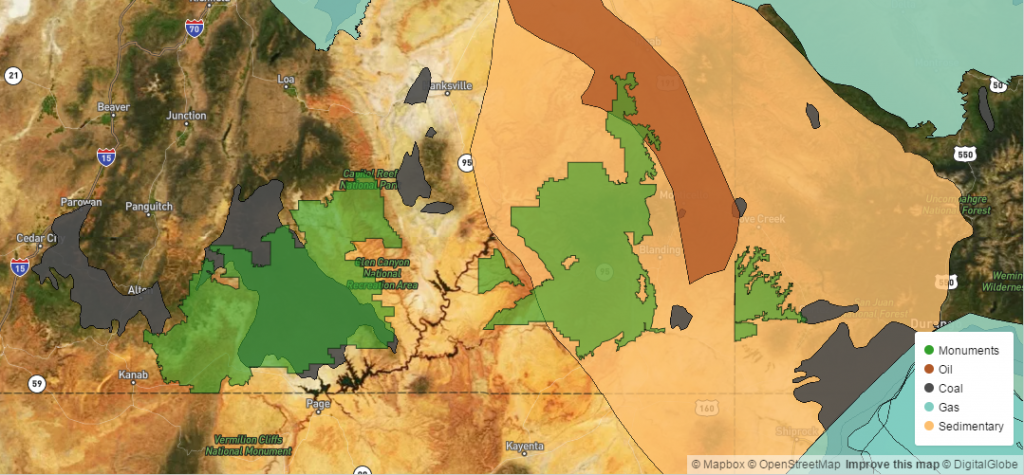 Map showing potential fossil fuel reserves below national monuments (in green). Grand Staircase (left); Bears Ears (centre) and Canyons of the Ancients (right).