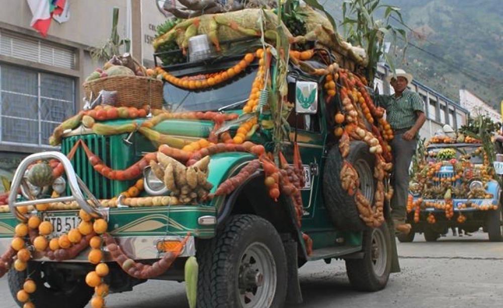 Trucks decorated with the abundant fruits