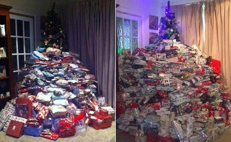 Left, tree with too many presents. Right, tree with even more presents