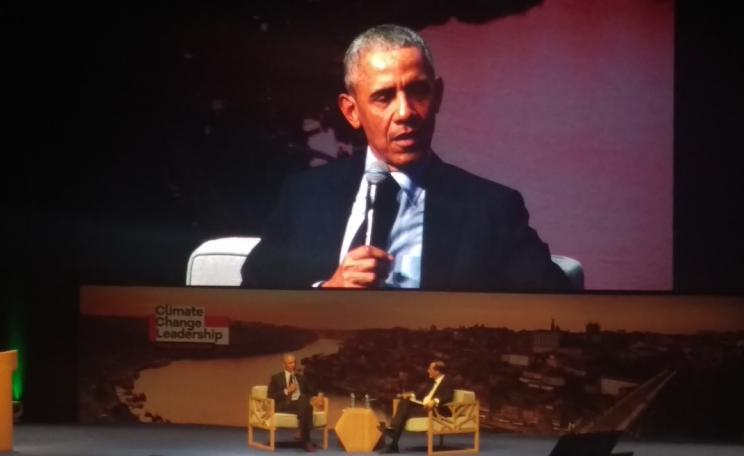 President Obama speaking on climate change at Porto Protocol