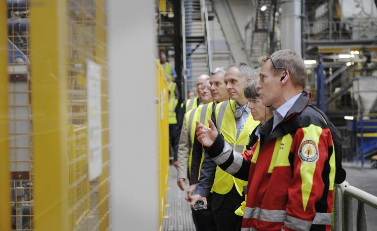 Simon Hart, EGGER Business Development Manager, (right) shows representatives of the forestry industry and Northumberland County Council around the EGGER site at Hexham.
