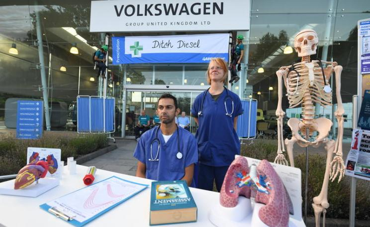 Activists and medics outside Volkswagen's UK headquarters