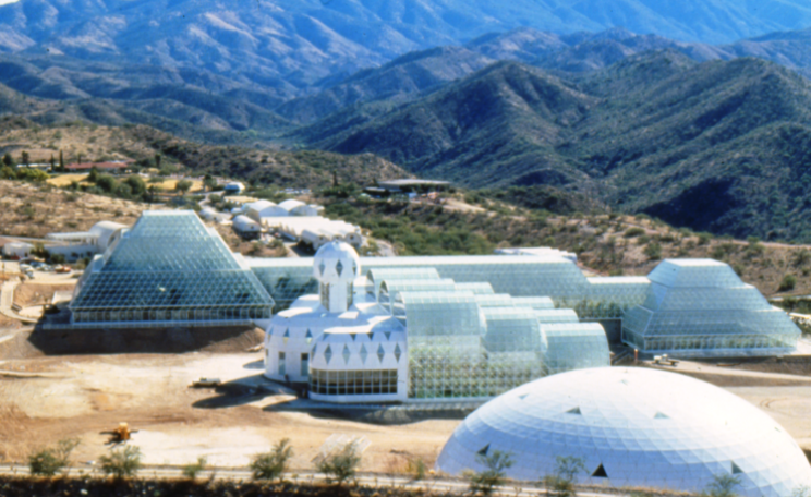 Photograph of the Biosphere 2 facility in southern Arizona