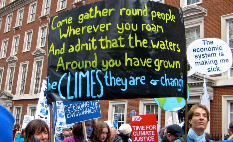 Placard from a climate change demonstration in London, 2009.