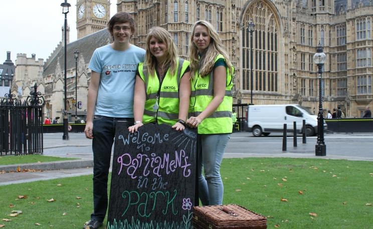 UKYCC campaigners outside parliament