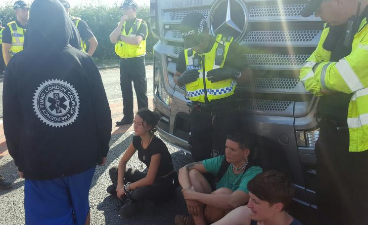 Fracking protestors and police