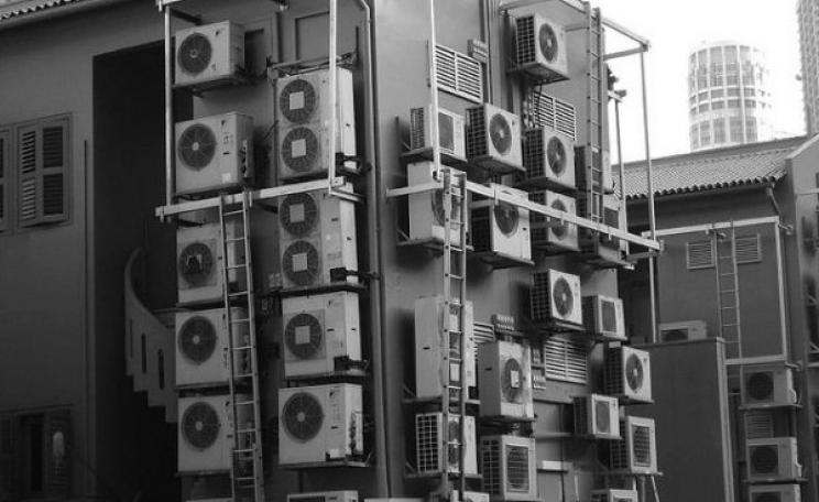 Air conditioners attached to a building