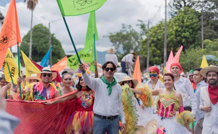 colorful colombian protest march