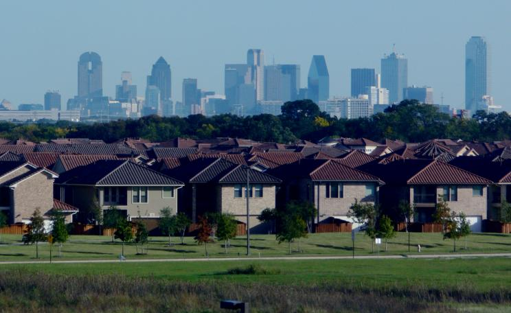 Dallas suburbs and cityscape