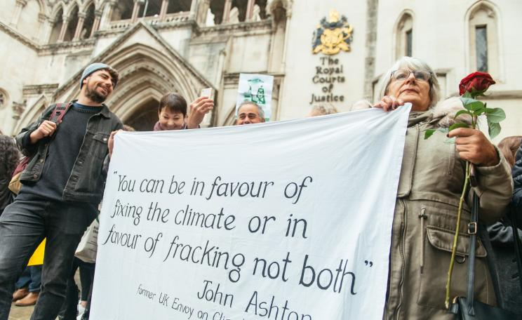 Demonstrators outside appeal hearing of the 'frack-free four'