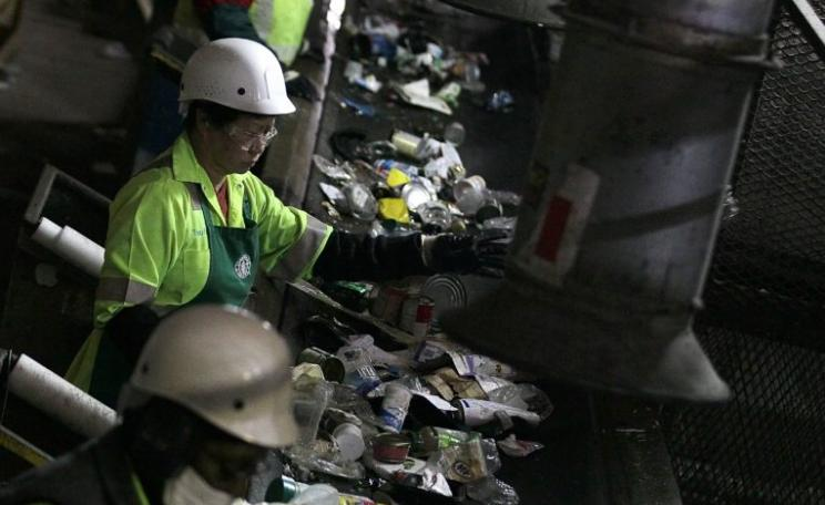 workers at a recycling plant in San Francisco