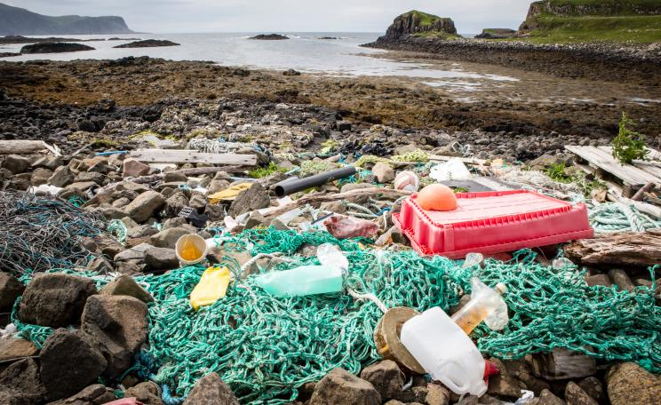 Plastic on the beach in Scotland