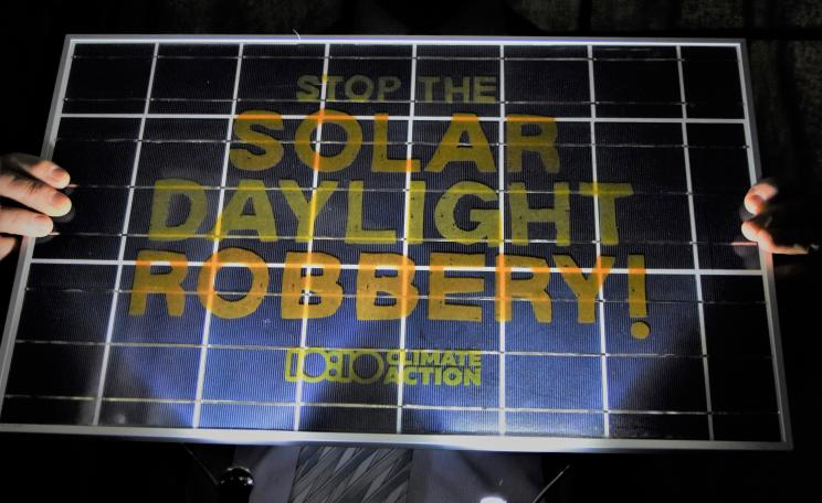 Stop the solar daylight robbery photo op