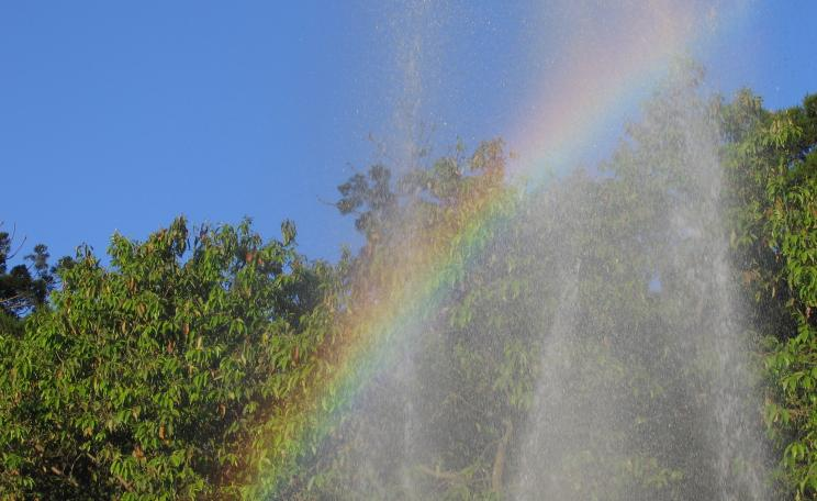 Rainbow and fountain