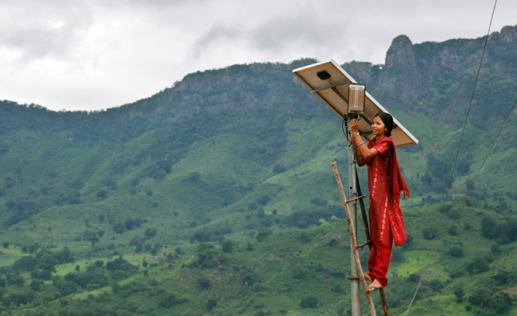 An engineer in the solar powered village of Tinginapu, East India