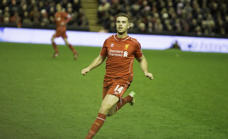 Jordan Henderson playing for Liverpool FC