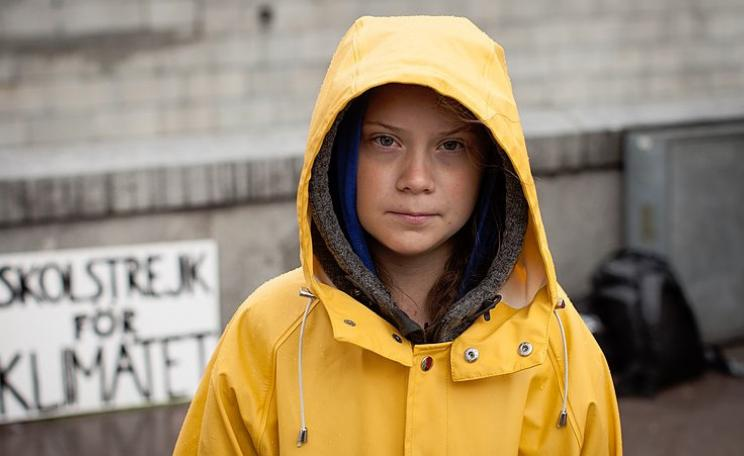 Greta Thunberg outside Swedish Parliament in 2018