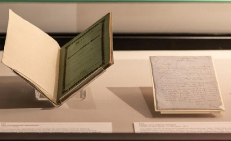 The Communist Manifesto and a letter from Marx on display in the Treasures Gallery